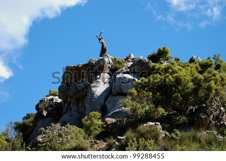 Goat statue on top of a mountain, Refugio de Juanar, Near Marbella, Costa del Sol, Malaga Province, Andalusia, Spain, Western Europe.