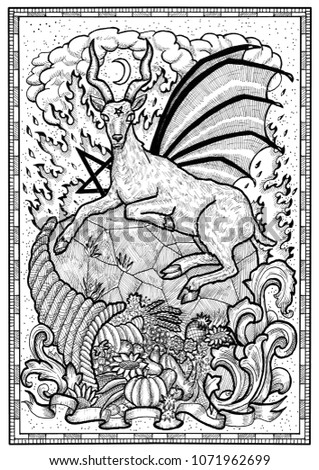 Stock Photo Goat symbol with horn of abundance, hell fire and diabolic sign - pentagram in frame. Fantasy engraved illustration for t-shirt, print, card, tattoo design. Zodiac animals of eastern calendar
