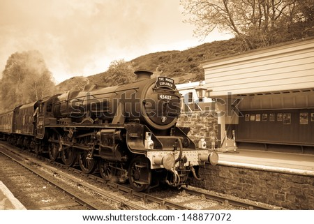 GOATHLAND, ENGLAND - MAY 20: North Yorkshire Moor Railway, thought to be the busiest heritage line in the world on May 20, 2013 in Goathland, England