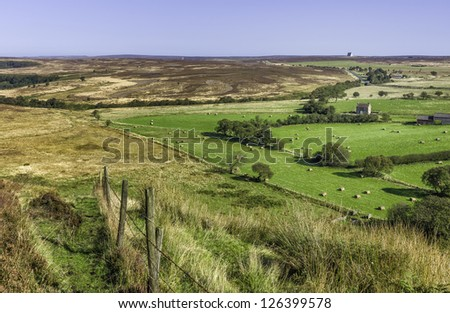 Goathland, Levisham, Yorkshire, UK. View of the North York Moors on a bright summer\'s day near the villages of Goathland and Levisham, Yorkshire, UK.