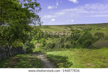 Goathland, Yorkshire, UK. North York Moors National Park on a summer morning showing a footpath, a farmhouse, undulating landscape and blue sky near the village of Goathland, north Yorkshire, UK.