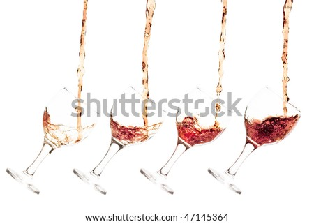 Goblet pouring with a splashing cola - sequence set of 4 shots - isolated on white