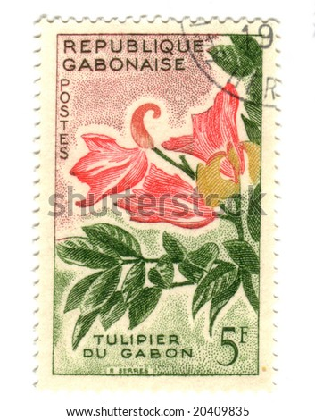 Gobon stamp with flower