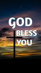 God bless you text with cross and dark evening background