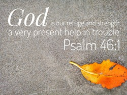 God is our refuge design for Christianity with sandy beach background.