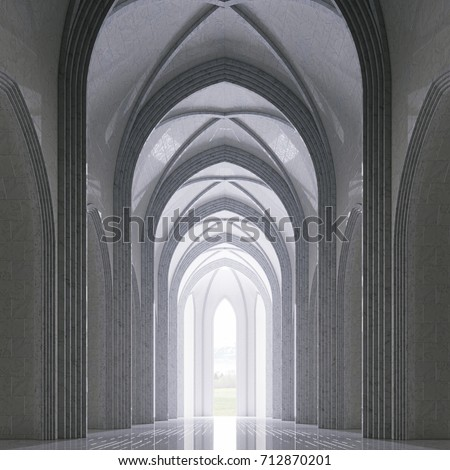 God light in classic gothic architecture interior 3d render