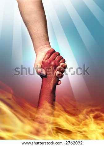 God making a pact with the Devil by shaking hands.