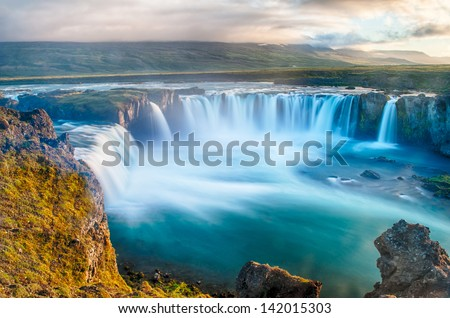 Godafoss is a very beautiful Icelandic waterfall. It is located on the North of the island not far from the lake Myvatn and the Ring Road. This photo is taken after the midnight sunset #142015303