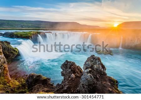 Godafoss waterfall at sunset, Iceland, Europe