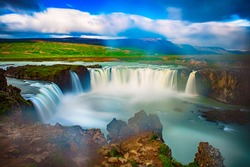 Godafoss waterfall in Iceland, summer natural travel background
