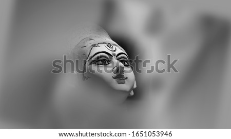 Goddess Durga Face in Happy Durga Puja Subh Navratri background Stockfoto ©