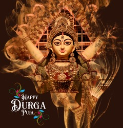 Goddess Durga Face in Happy Durga Puja Subh Navratri Maa background