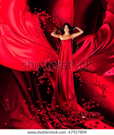 Long  Dress on Goddess Of Love In Long Red Dress With Magnificent Long Hair Makes A