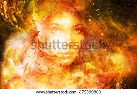 Goddess Woman in Cosmic space. Cosmic Space background. eye contact. Fire effect.