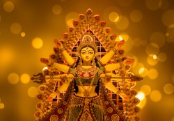 Godess Durga idol in a Pandal.Durga Puja is the most important worldwide hindu festival for Bengali