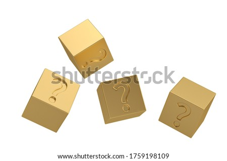 Godl question mark cube isolated on white background. 3D illustration. Zdjęcia stock ©