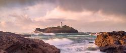 Godrevy lighthouse cornwall england uk at sunset