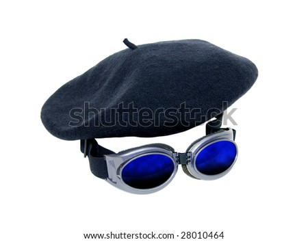 Goggles worn as a fashion accessory and to protect the eyes and a beret to blend in with a crowd-Path included