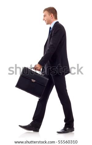going business man holding brief case over wite