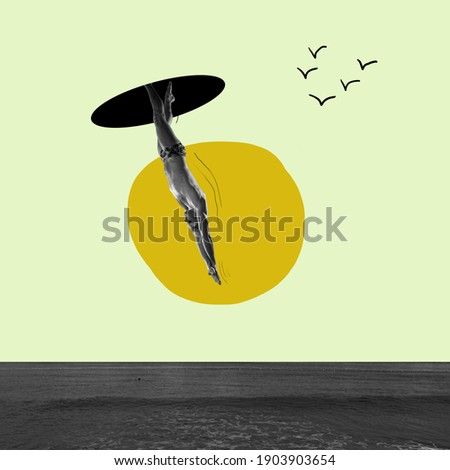 Going on throught universe. Swimmer jumping to sea from sky portal. Copyspace. Modern design. Contemporary art. Creative conceptual and colorful collage surrealism style. Yellow grey background