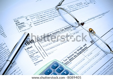 Going through the maze of tax forms, electric blue tint