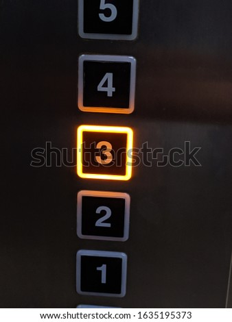 Going to 3rd floor with the elevator, the shining of elevator button number 3