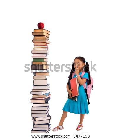 Going to school is your future. Education, learning, teaching. A young girl looks at a tall pile of books.