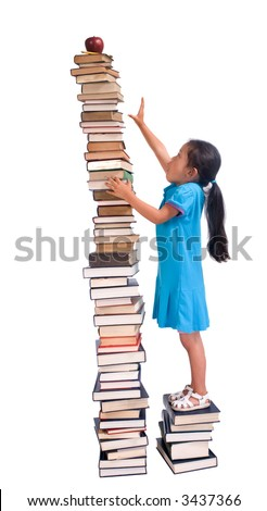 Going to school is your future. Education, learning, teaching. A young girl reaches for an apple and pencil on a tall tower of books. Reaching high for your goals.