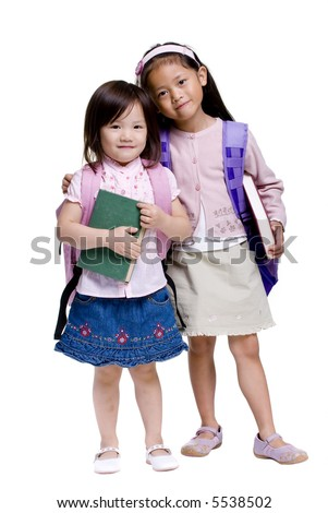 Going to school is your future. Education, learning, teaching. Two young girls ready for school