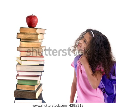 Going to school is your future. Education, learning, teaching. Two young girls share a book