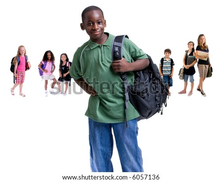 Going to school is your future. Education, learning, teaching. Young children ready for school. - stock photo