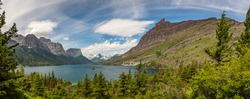 Going-to-the-Sun Road along the north shoreline of St. Mary Lake at Glacier National Park, Montana.