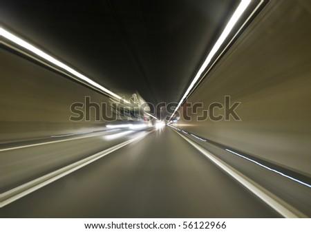 Going trough the underground tunnel (Gotthard) - stock photo