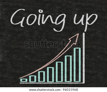 going up written on blackboard with chart up