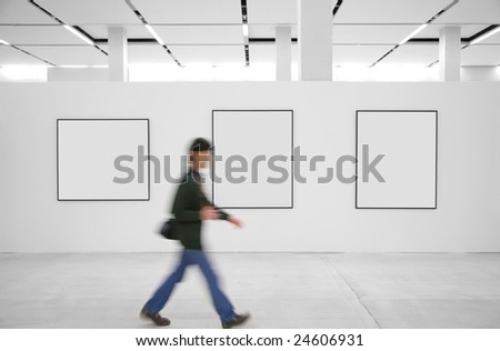 Going visitor at an exhibition