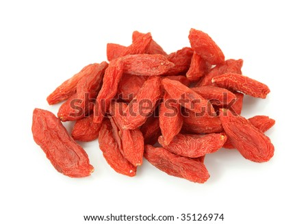 Goji berries isolated on white background