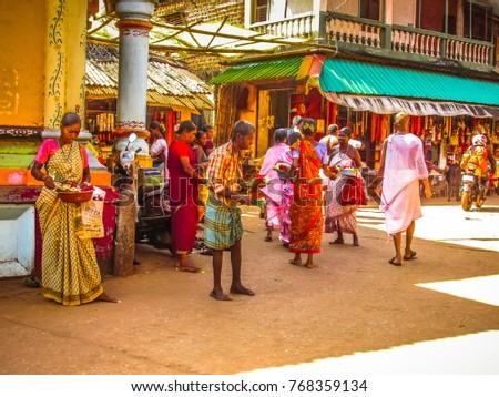 Gokarna Karnataka India October 30-2017 Unknowns people walking in the street  #768359134