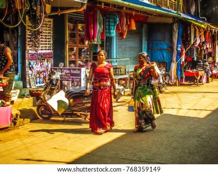 Gokarna Karnataka India October 30-2017 Unknowns people walking in the street  #768359149
