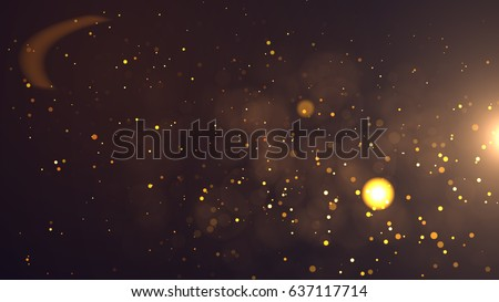 Gold abstract bokeh background real backlit dust particles with real lens flare.