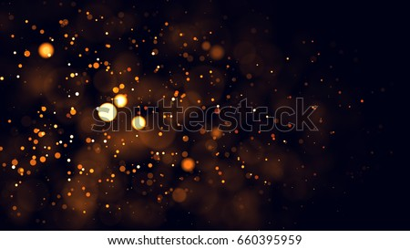Gold abstract bokeh background. real backlit dust particles with real lens flare.