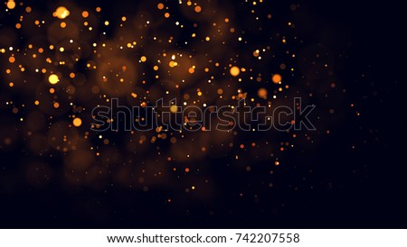 Gold abstract bokeh background. real backlit dust particles with real lens flare. glitter lights . Abstract Festivevintage lights defocused. Christmas and New Year feast. #742207558