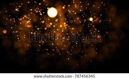 Gold abstract bokeh background. real backlit dust particles with real lens flare. glitter lights . Abstract Festivevintage lights defocused. Christmas and New Year feast. #787456345