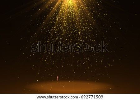 Gold Abstract Glitter Blinking sparkle . Christmas and New Year glittering background. Backdrop with sparkling magic glowing. Dust blinking sparkle lights.