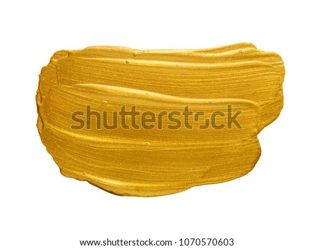 Gold acrylic watercolor paint brush stroke free hand drawing texture isolated on white background top view photo object design