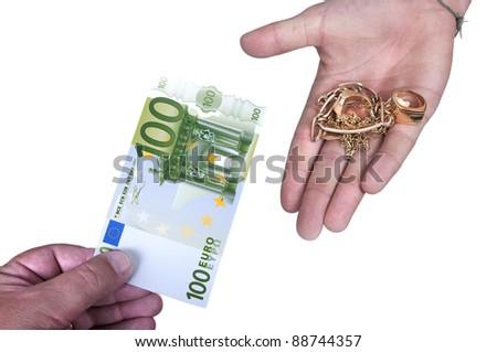 Gold against cash money on white background