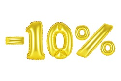 Gold alphabet balloons, 10 percent, ten percent tag, Gold number and letter balloon