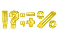 Gold alphabet balloons, punctuation marks, Gold number and letter balloon