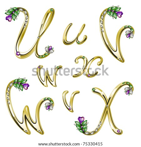 Gold alphabet with diamonds and gems letters U,V,W,X (see eps version in my portfolio)