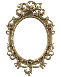 Gold Anatique Mirror Frame with Angel  isolated on white background