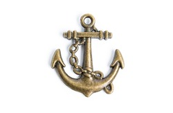 Gold anchor on white background